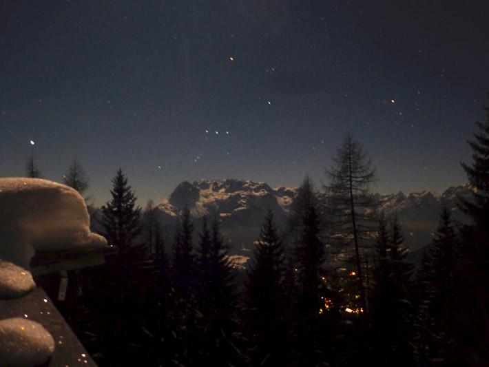 Blick auf den Hochkönig bei Nacht