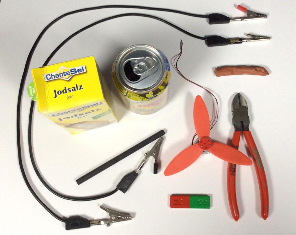 Material für das Experiment Strom aus der Dose